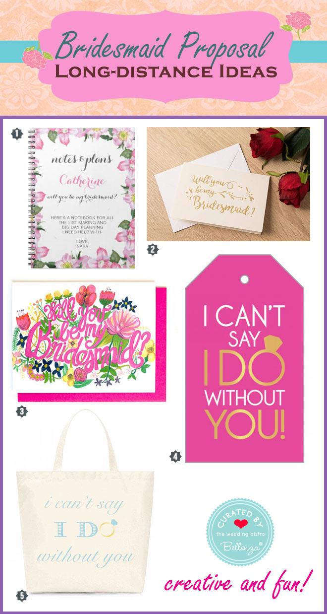 Long distance bridesmaid proposal from note cards to tote bags.