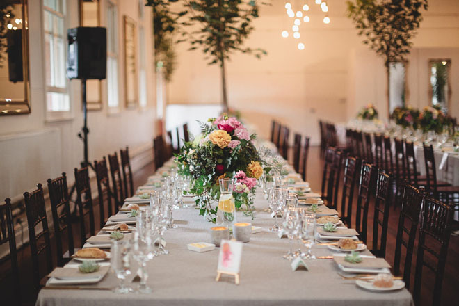 Simple styled tablescapes at Abbotsford Convent Rosina Room.