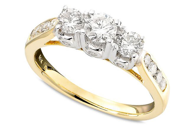 Three-Stone Diamond Ring in Two-Tone 14k Gold