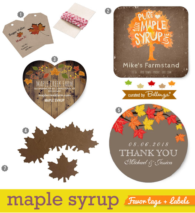 Tags and labels for making maple syrup favors.