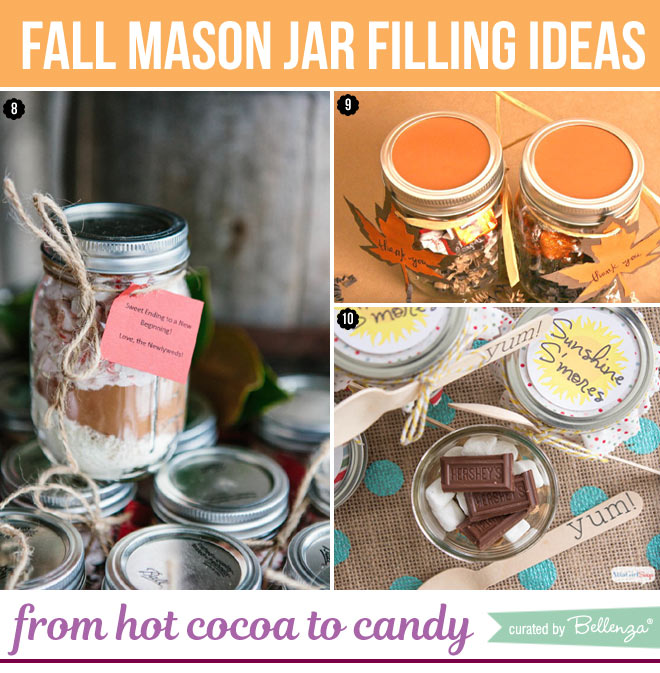 Hot cocoa and candies in mason jars
