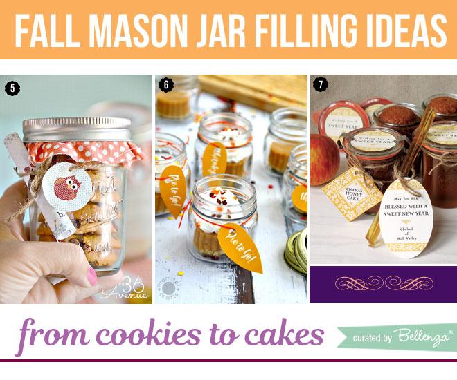 Mason jar fillings like cookies, pumpkin pie, and cake in jar.