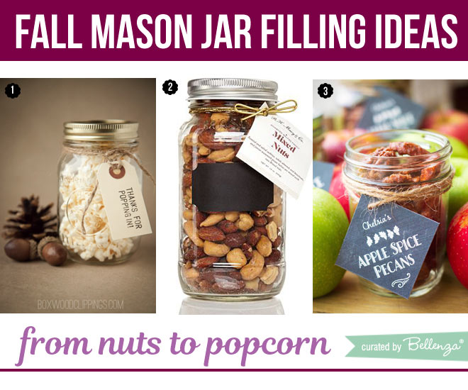 Popcorn and trail mix fillings for mason jars.