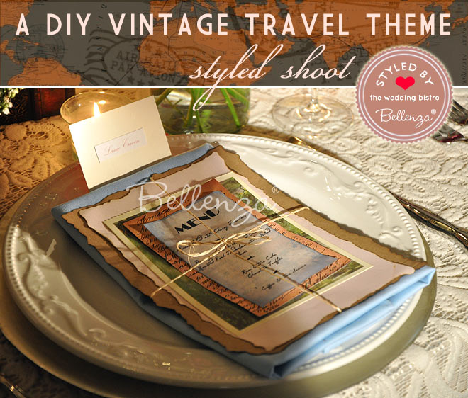 Menu cards with a vintage travel theme.