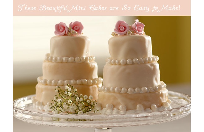 mini pink wedding cakes