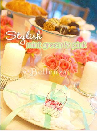 Mint green and pink decorates this casual wedding breakfast tablescape.