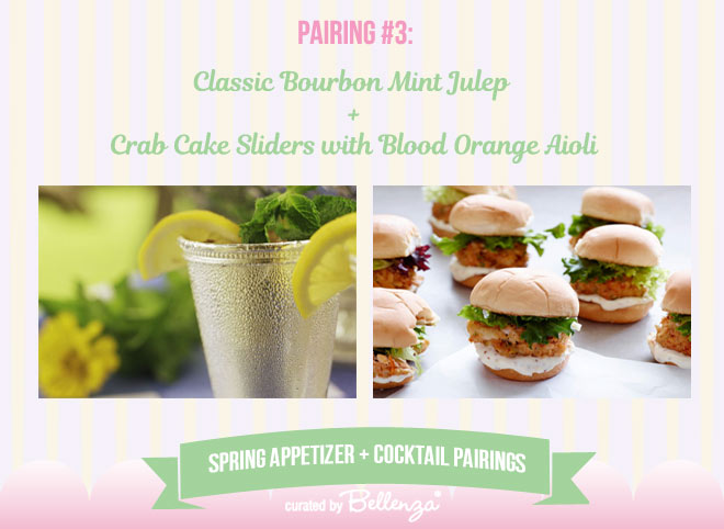 Classic Bourbon Mint Julep and Crab Cake Sliders with Blood Orange Aioli