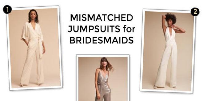 Mismatched bridesmaids jumpsuits