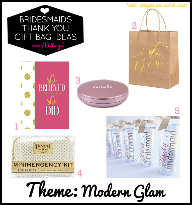 Modern Glam Bridesmaid Gift Bag fillers