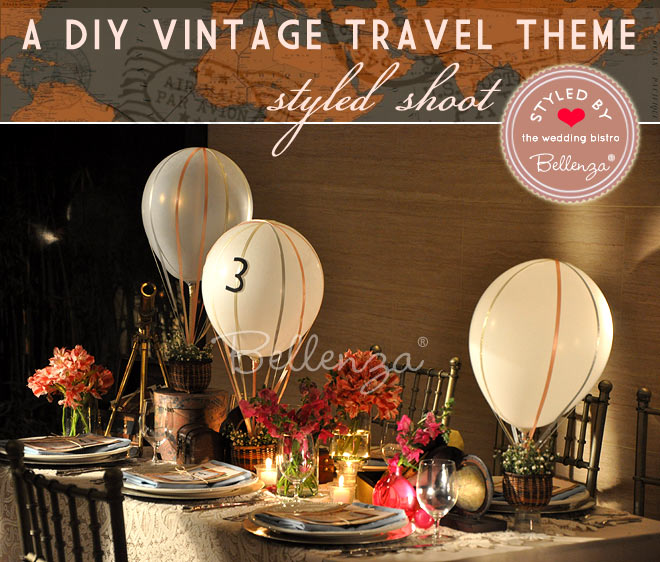 Vintage travel tablescape by Bellenza.