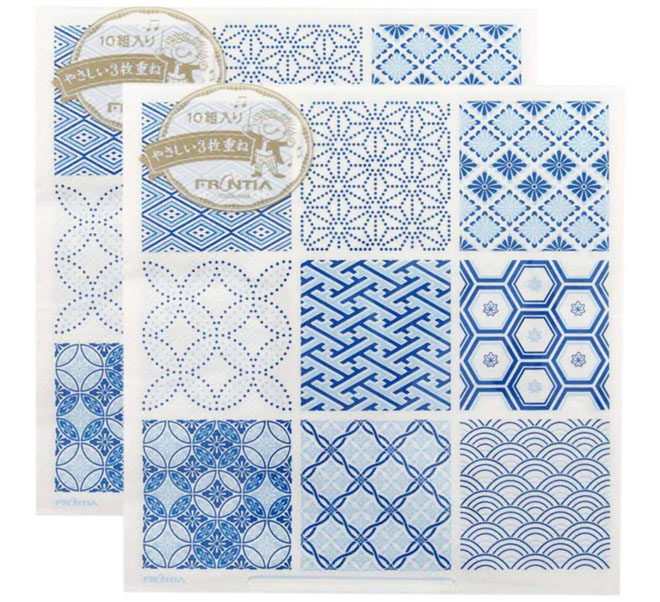 Japanese pattern napkins in blue