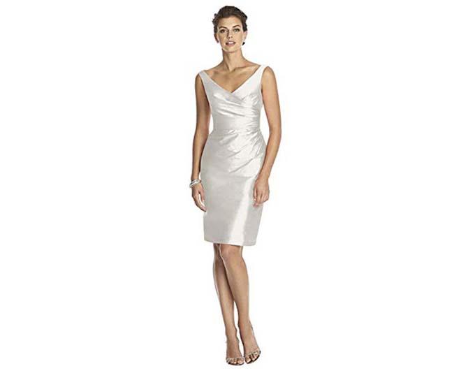 Dessy Women's Cocktail Length Sleeveless V-Neck Peau De Soie Dress