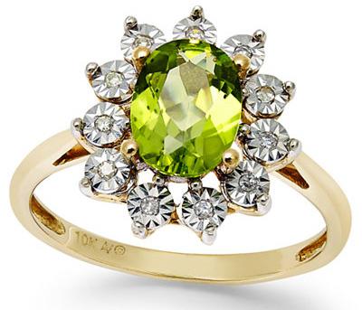 Peridot engagement ring via Macy's.