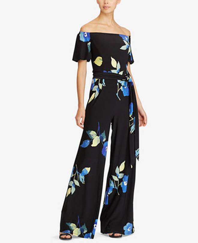 Ralph Lauren Floral Print Off-the-shoulder Jumpsuit