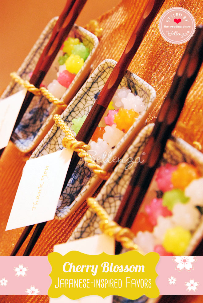 Soy sauce dishes as Japanese cherry blossom favor ideas.