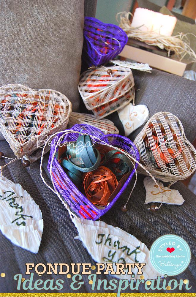 Potpourri in woven boxes as fondue party favors // Bellenza