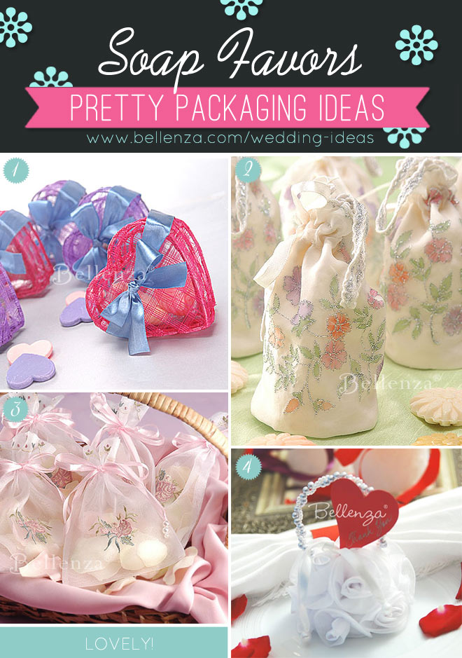 Pretty soap favor bags and boxes