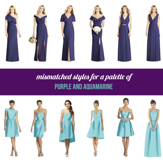 Mismatched purple and aqua bridesmaid dresses.