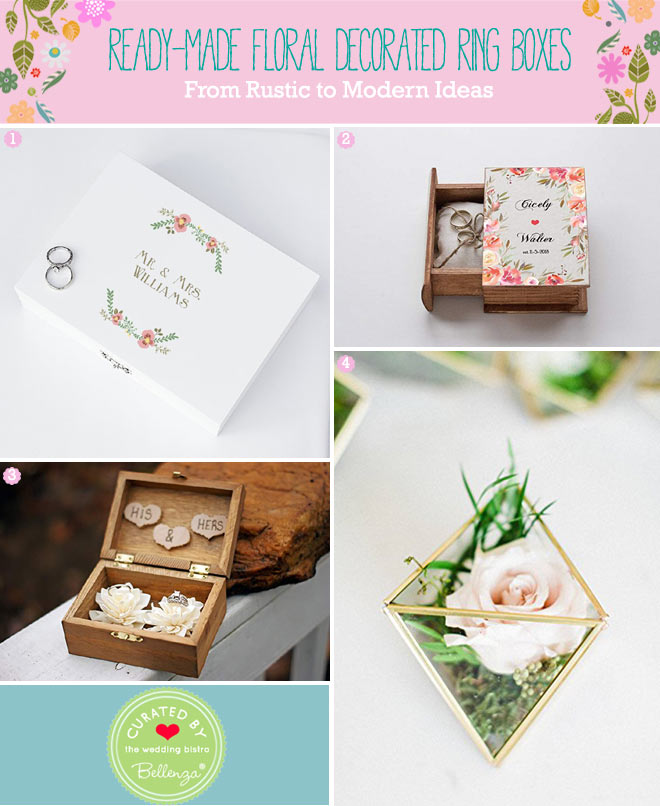 Floral ring boxes and terrarium ring holders for spring wedding ceremony.