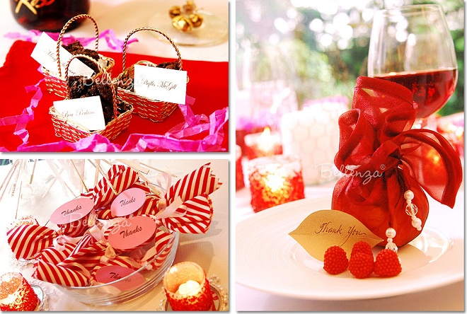 red-holiday-favors such as red berries and fudge squares
