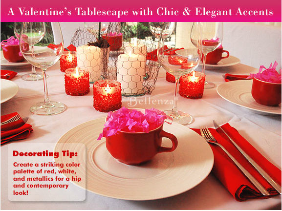 Red and white Valentine's tablescape