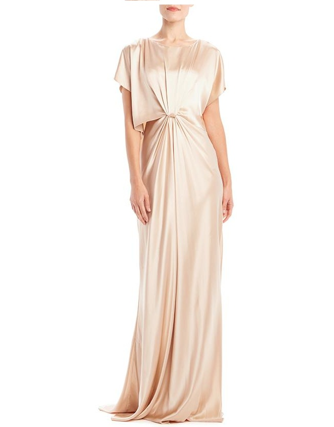 Satin draped gown in nude