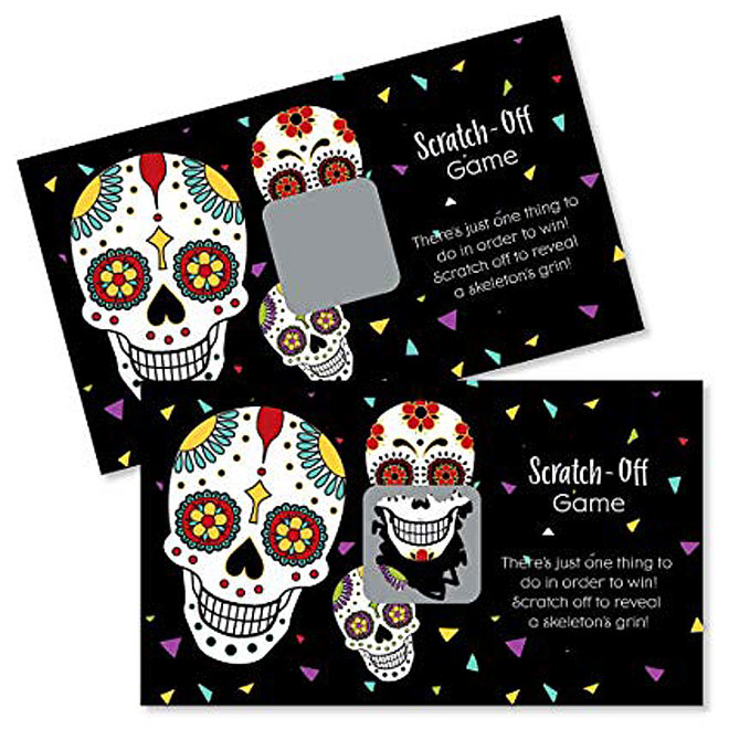 Dia le los muertos scratch off game cards