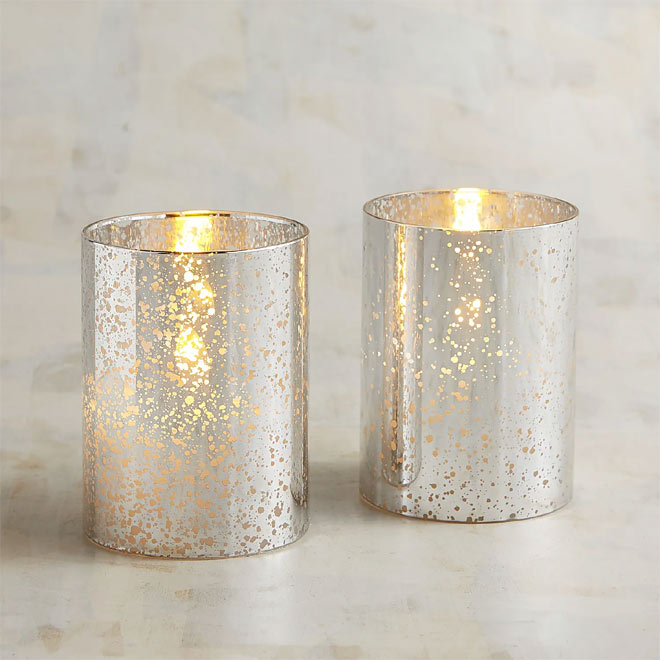 Silver glass LED candle set through Pier1