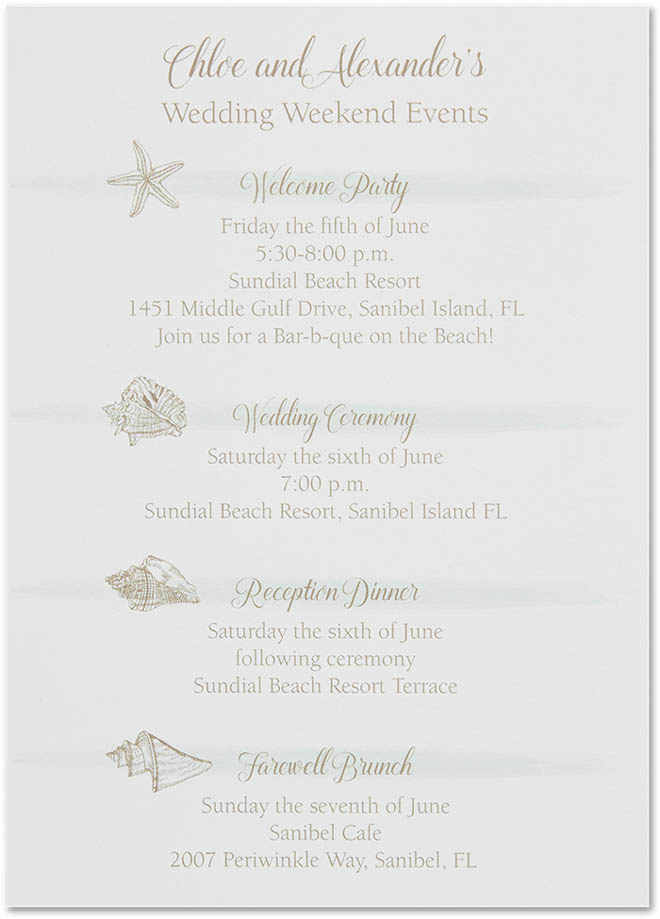 Stylish Weathered-Look Itinerary for a Beach Wedding