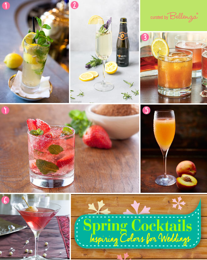 Spring wedding cocktails using lemons, lavender, strawberries, apricots, and lychees.