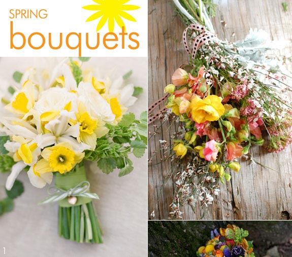 Yellow spring bouquets for brides