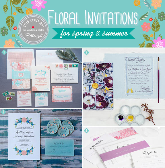 Spring floral wedding invitation suites