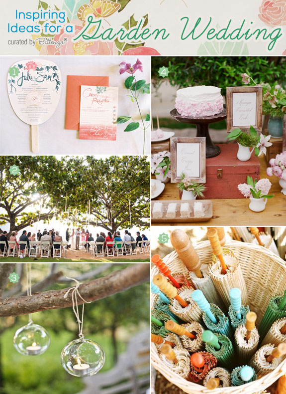 Pretty spring wedding ceremony in a garden