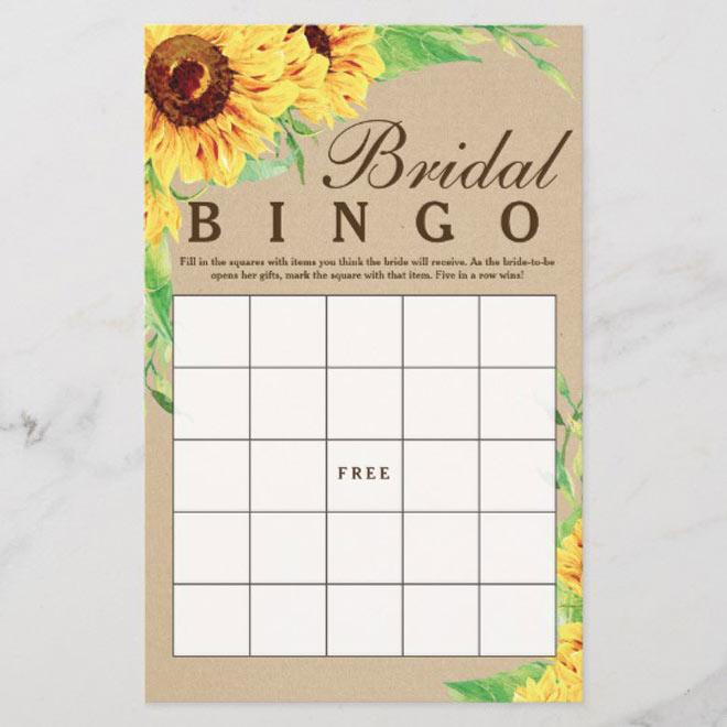 Bridal Bingo via Zazzle
