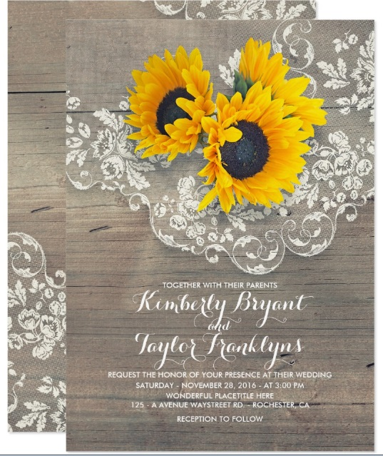 Sunflowers and Lace Wedding Card via Zazzle