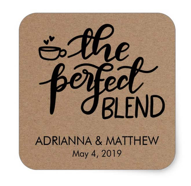 """The Perfect Blend"" square stickers"