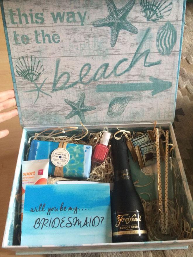This way to the beach bridesmaid proposal box