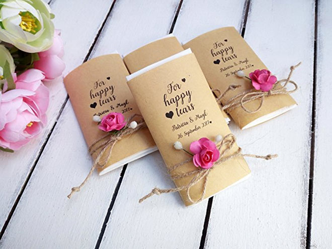 Tissue packs for vintage floral ceremony.