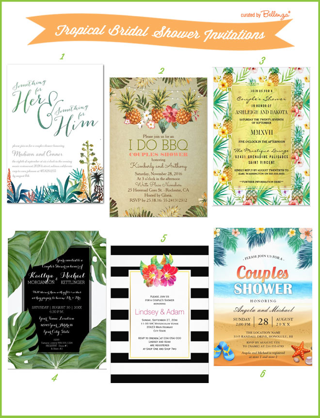 Tropical couples bridal shower invitations.
