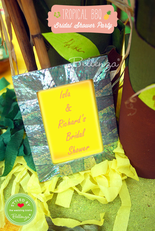 Isla and Richards's Bridal Shower Sign in a Picture Frame.
