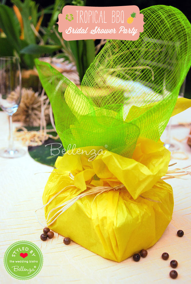 Create a unique, handmade gift for the bride and groom to-be such as homemade tropical cake!