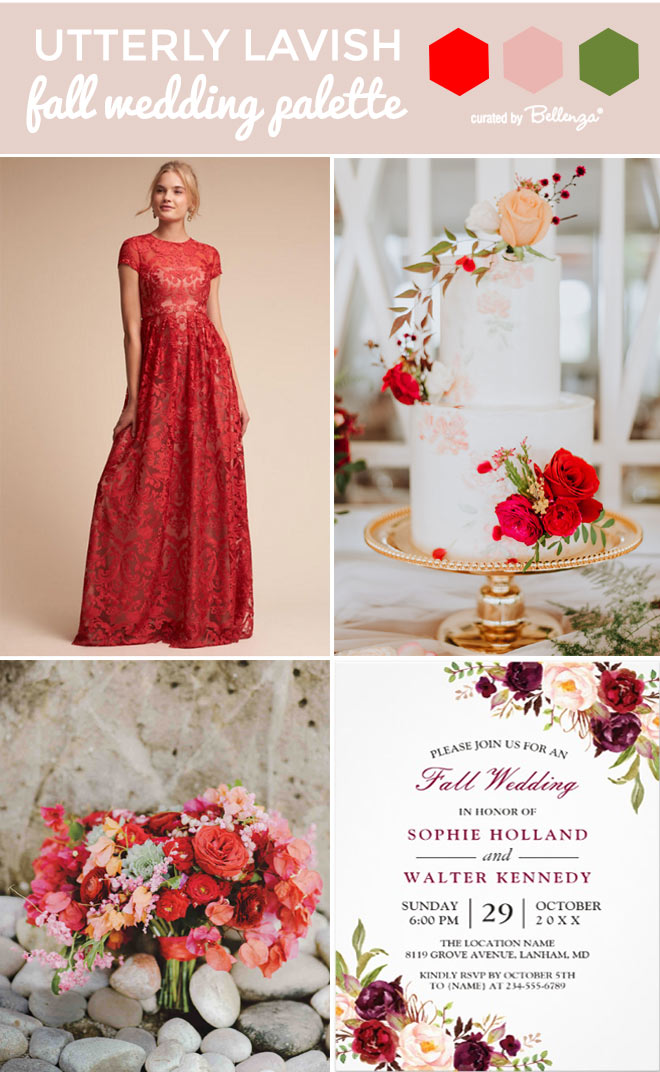 Red and peach classic fall wedding