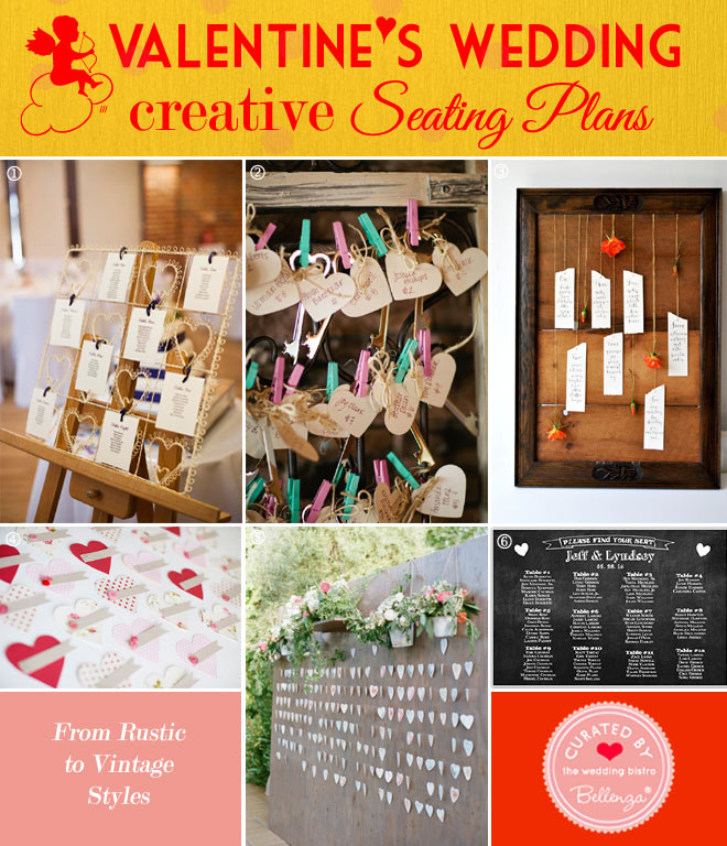 Valentine's wedding seating plans in vintage and rustic styles // curated by Bellenza.