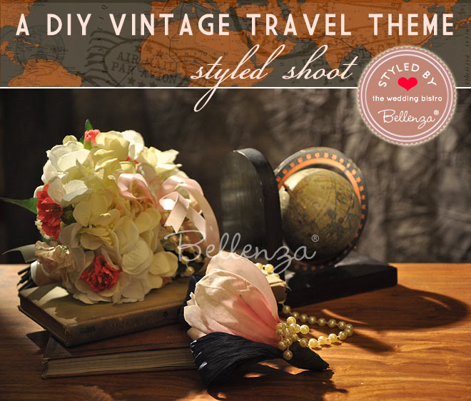 Vintage travel bridal bouquet and boutonniere.