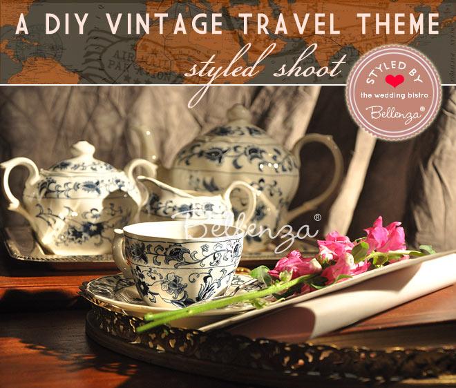 Welcome tea station serving hot tea in Delft blue vintage china
