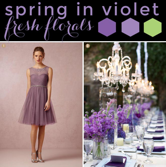 Lilac and violet with green spring wedding palette.