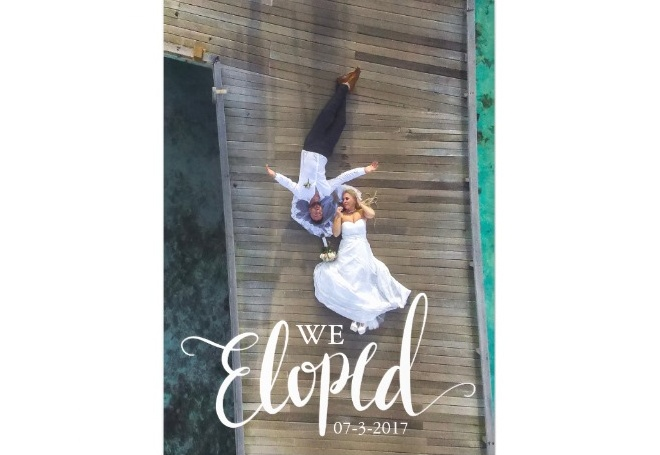 "Personalized ""We Eloped"" Elopement Announcement Card"