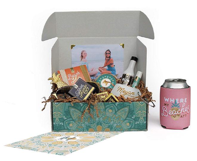 Tropical themed bridesmaid proposal box