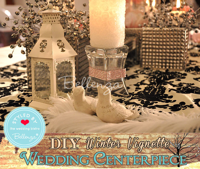 white miniature lanterns, crystal candle holders, white candles (pillar, taper, votive, or tea light style), silver or crystal vases, mirrored stands, silvery metal branches encrusted with crystals, white feathers, pairs of doves or love birds