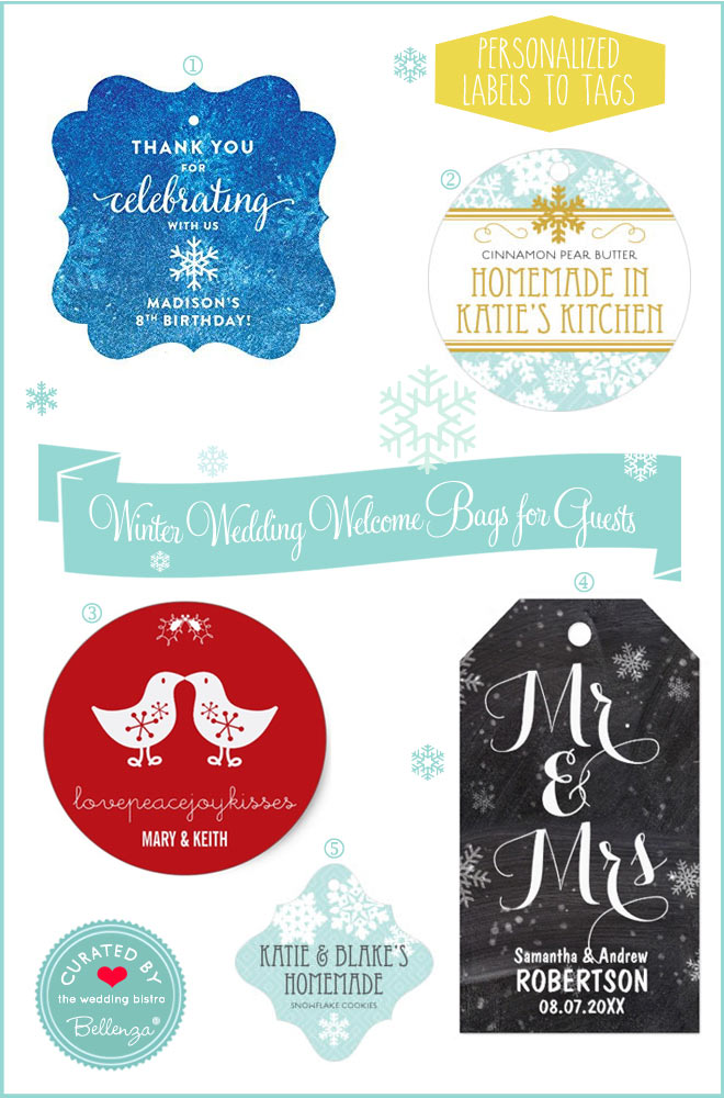 Personalized winter themed gift tags and stickers from chalkboard to red chicks.